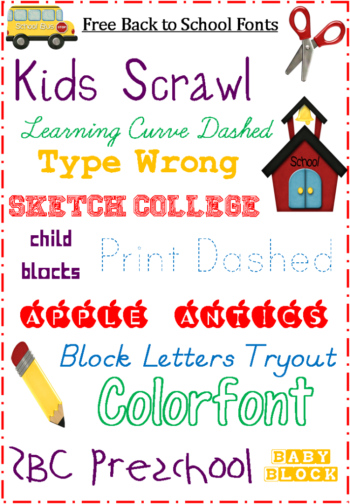 Dashed heart clipart picture download School Fonts: Free for Back to School {Blogging Basics} | Pinterest ... picture download
