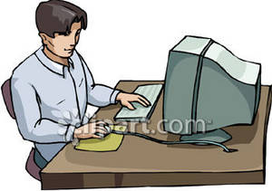 Data entry clerk clipart clipart free library Clipart Picture of a Man Sitting at a Desk Using a Computer clipart free library