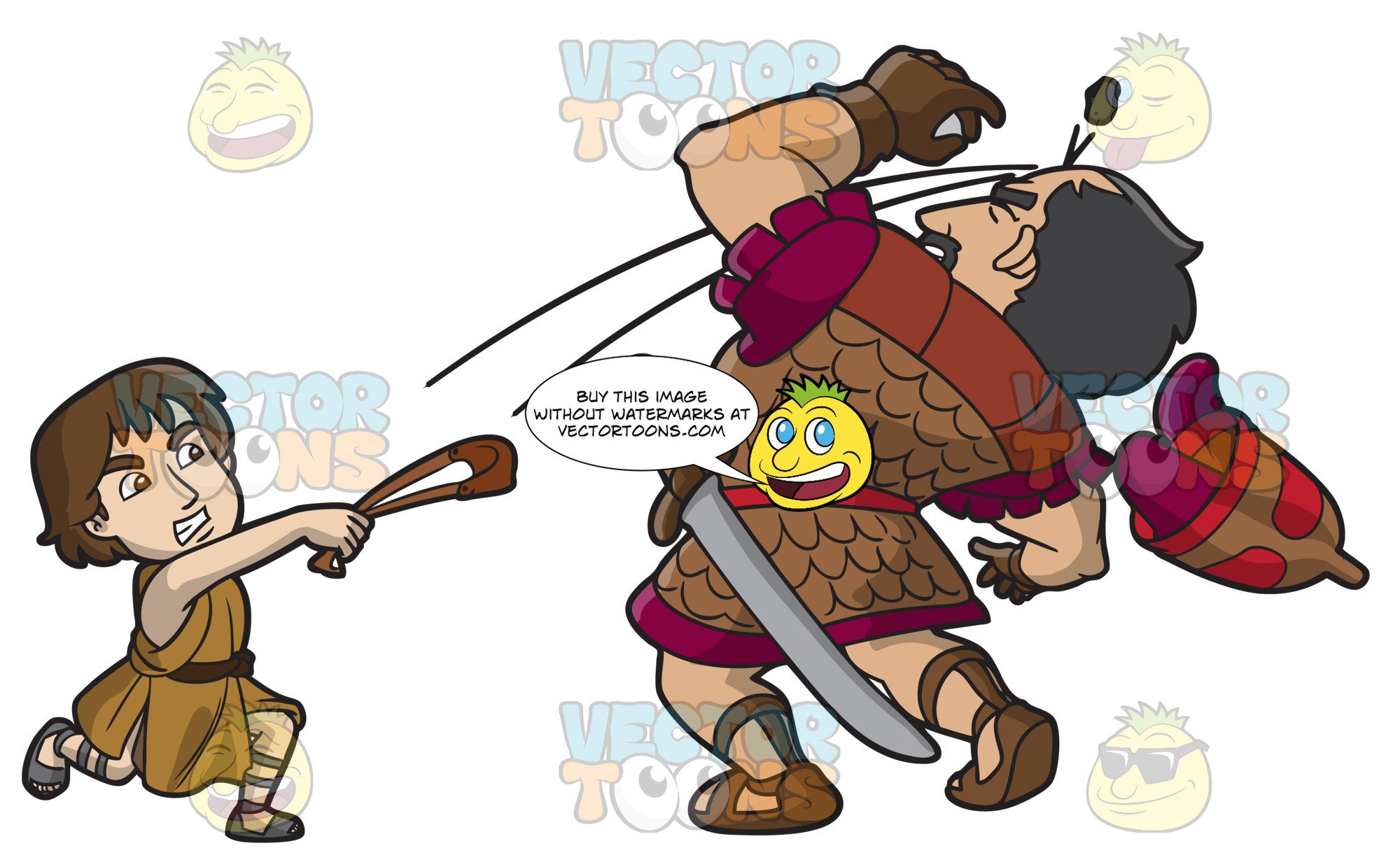 David and goliath clipart graphic royalty free library David Hitting Goliath With A Sling Shot graphic royalty free library