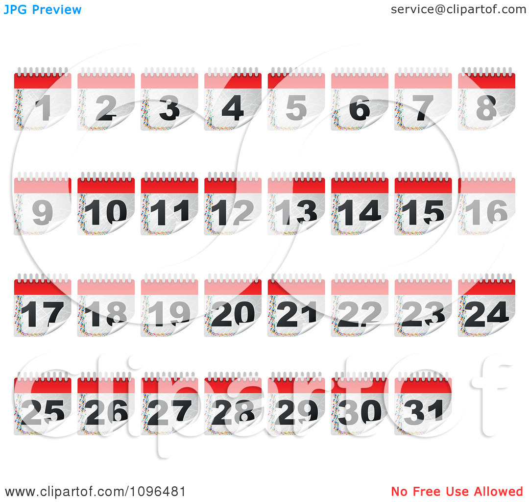 Day 1 clipart clip library stock Clipart Calendar Day Icons From 1 To 31 - Royalty Free Vector ... clip library stock