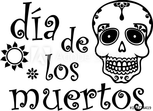 Day of the dead black and white clipart svg transparent stock Day of the Dead Black and White Spanish - Buy this stock vector and ... svg transparent stock