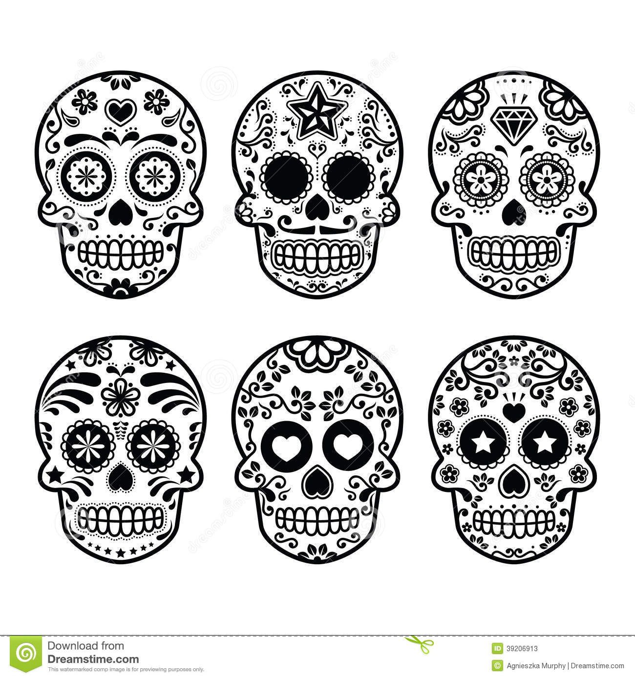 Day of the dead black and white clipart clip art freeuse download Mexican sugar skull, Dia de los Muertos icons set Stock Photos | DIA ... clip art freeuse download