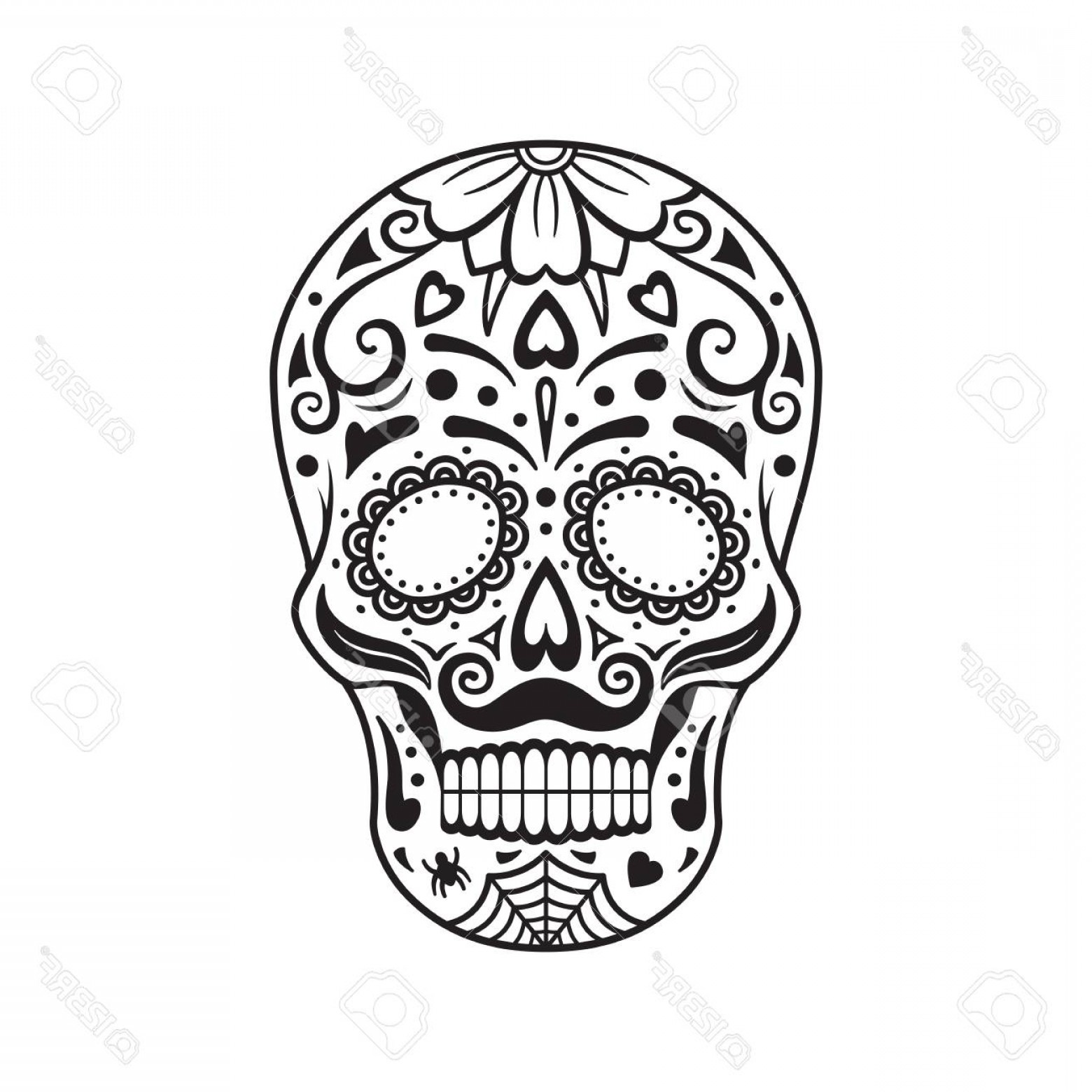 Day of the dead black and white clipart svg freeuse Photostock Vector Sugar Skull Black Tattoo Silhouette Mexican Day Of ... svg freeuse