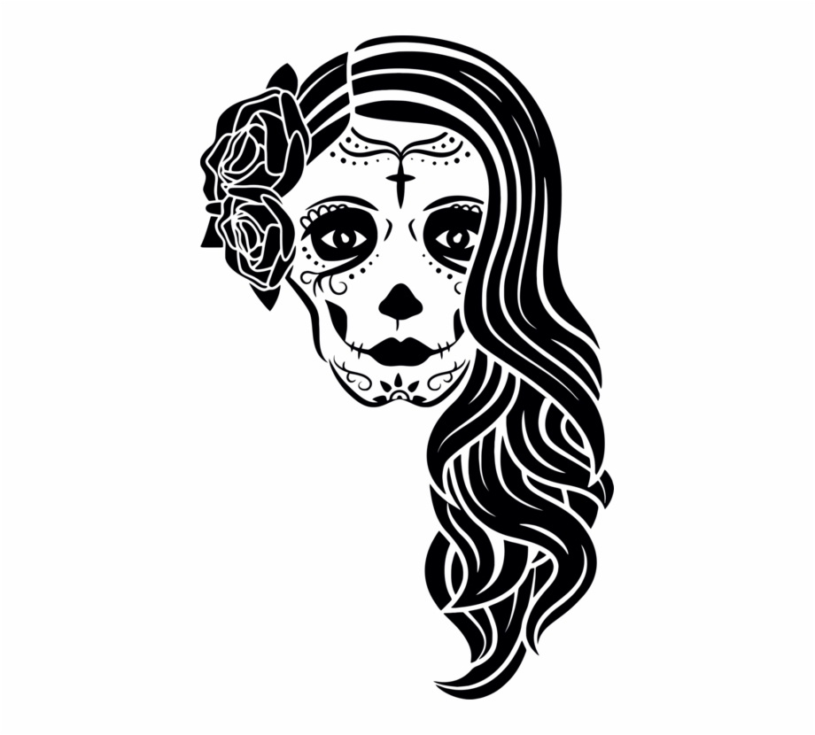Day of the dead black and white clipart graphic freeuse stock La Calavera Catrina Day Of The Dead Skull - Clip Art Library graphic freeuse stock