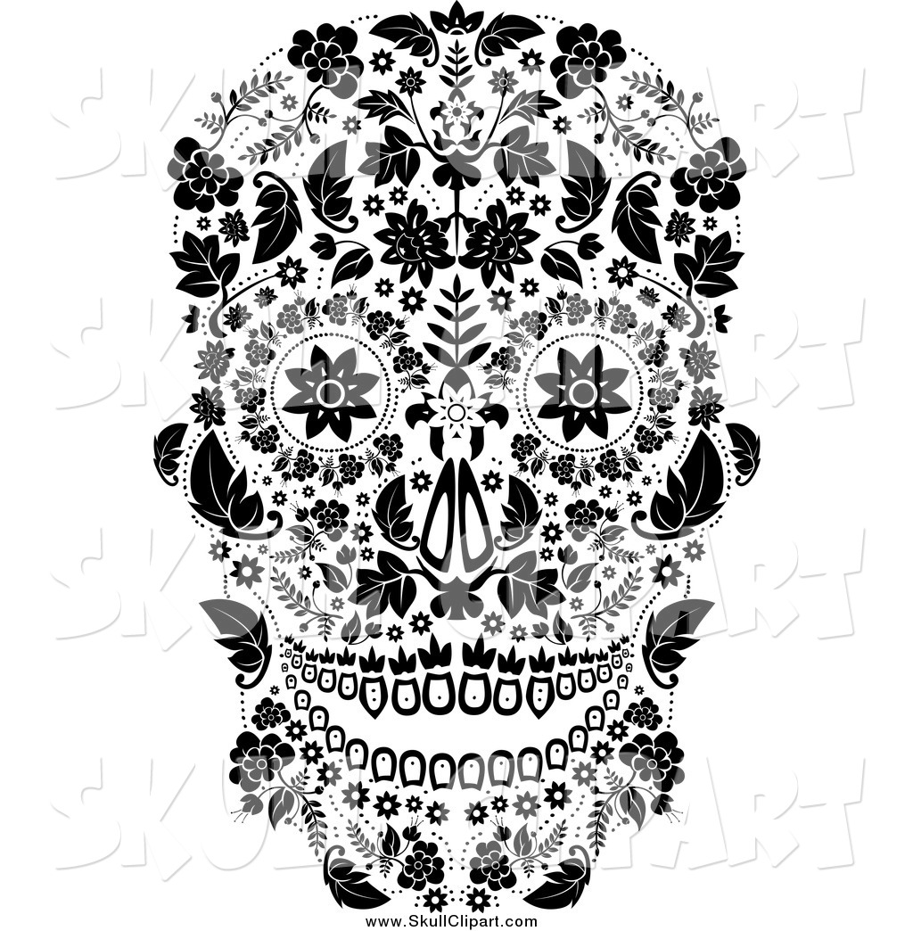 Day of the dead black and white clipart vector black and white download Vector Clip Art of a Black and White Floral Day of the Dead Skull by ... vector black and white download