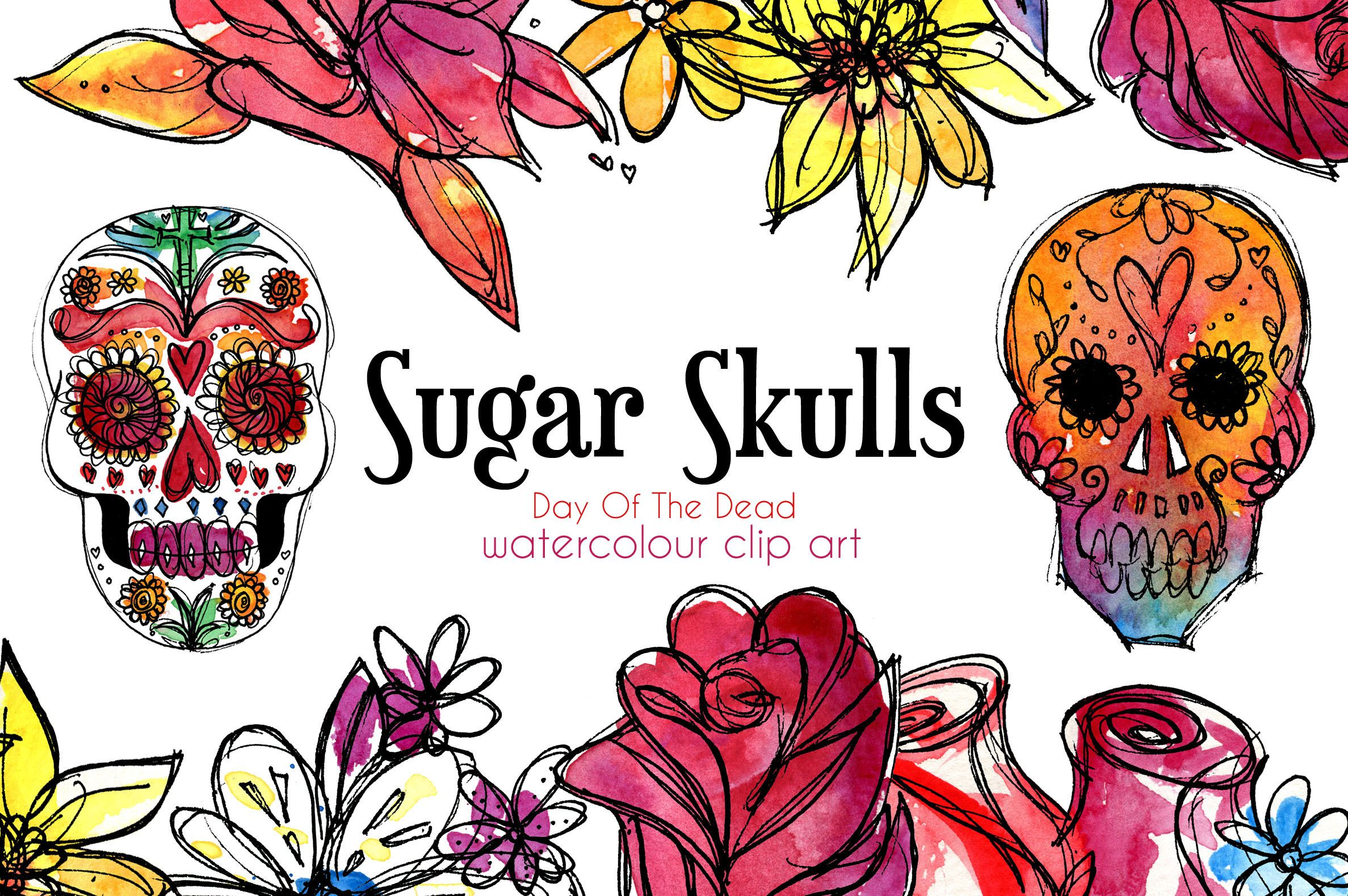 Day of the dead border clipart png black and white library Sugar Skulls Clip Art, Day of the Dead Clip Art, Watercolour Skulls ... png black and white library
