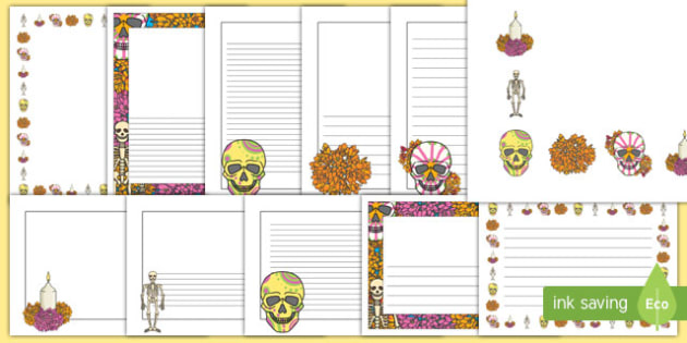 Day of the dead border clipart clip library stock Day of the Dead Page Border Pack clip library stock