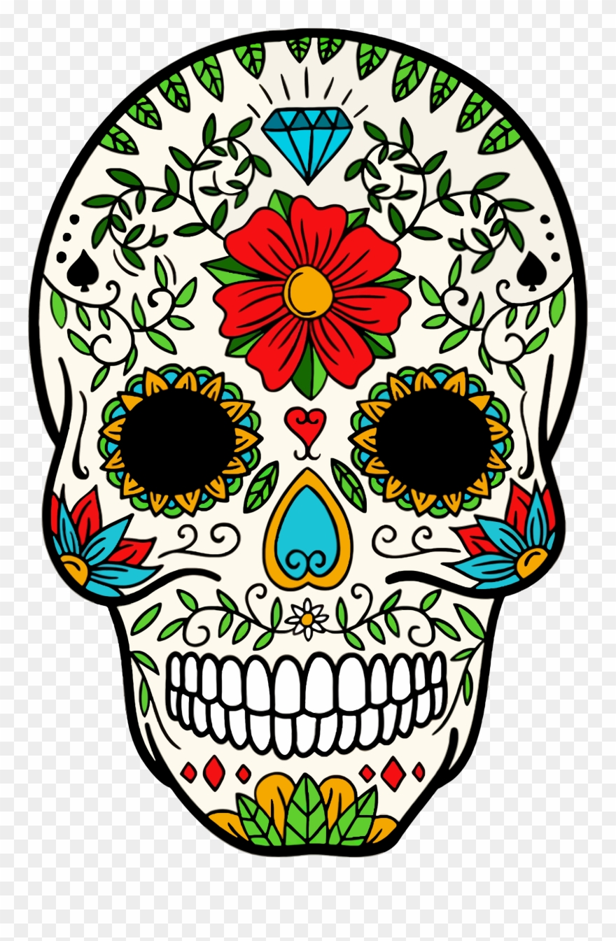 Day of the dead clipart vector black and white Big Image - Day Of The Dead Skeleton Skull Clipart (#856354 ... vector black and white