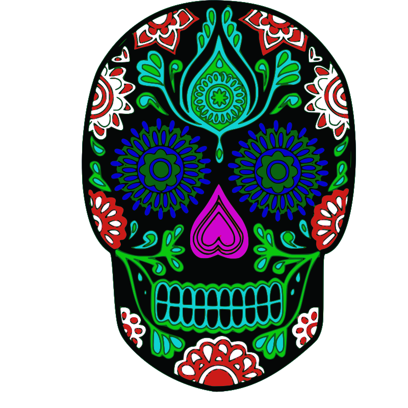 Day of the dead flower clipart clip art black and white stock 28+ Collection of Day Of The Dead Skull Clipart | High quality, free ... clip art black and white stock