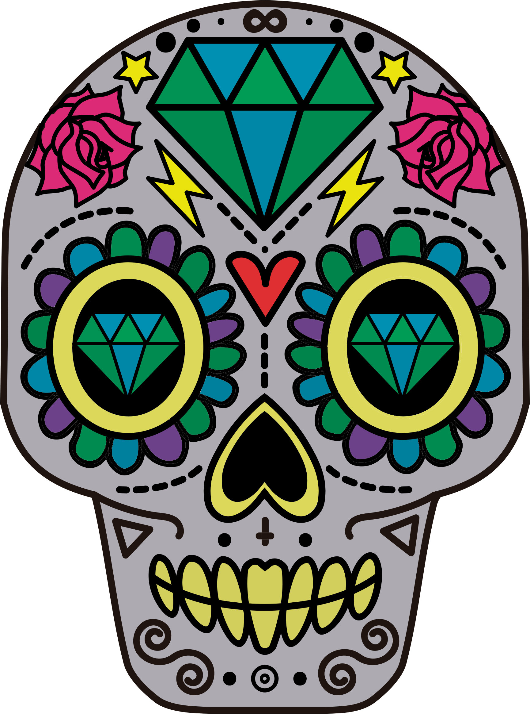 Day of the dead flower clipart vector transparent library La Calavera Catrina Skull Day of the Dead Paper - skulls 1730*2328 ... vector transparent library