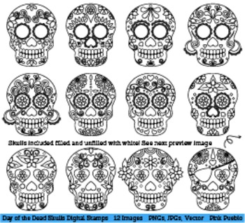 Day of the dead sugar skull clipart freeuse library Day of the Dead Skulls Clipart Clip Art, Sugar Skulls Digital Stamps freeuse library