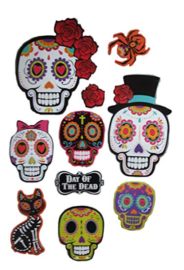 Day of the dead sugar skull clipart vector transparent library Sugar Skull Day of the Dead Party Decorations Includes 10 Cutouts vector transparent library