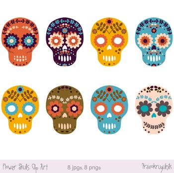 Day of the dead sugar skull clipart graphic royalty free Sugar Skull Clipart, Day of the Dead Clip Art, Halloween Flower Skulls graphic royalty free