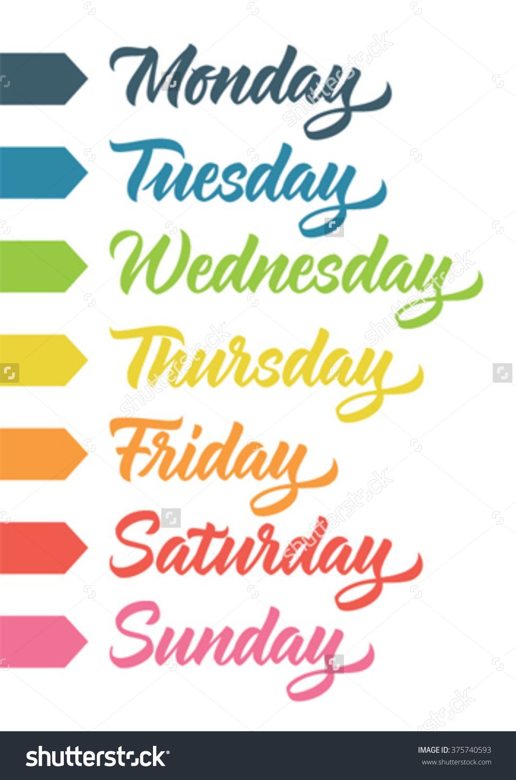 Day of the week check boxes clipart vector library download Seven-Day Week | handwritten days of the week: monday, tuesday ... vector library download
