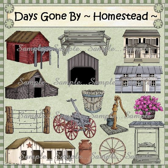 Days gone clipart graphic transparent stock Days Gone By...Homestead Clipart | Commercial Use Clipart To Buy ... graphic transparent stock