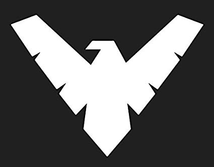 Dc nightwing insignia clipart black and white clip art black and white library Amazon.com: DC COMICS BATMAN SERIES NIGHTWING LOGO VINYL STICKERS ... clip art black and white library