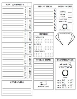 D&d character journal clipart clip free Encumbrance by Stones - Equipment Sheet   D&D Character Sheets ... clip free