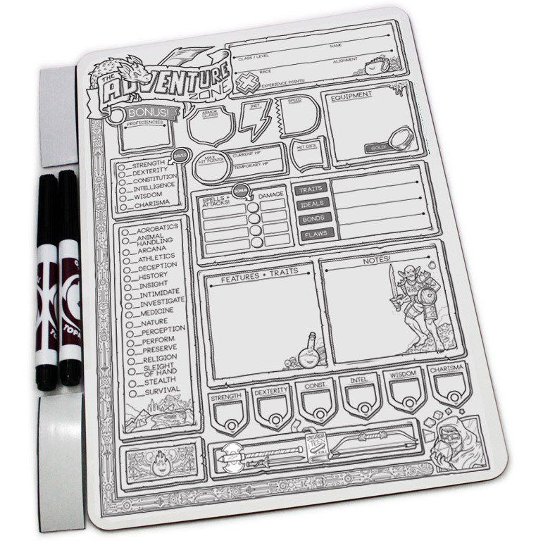 D&d character journal clipart clip art freeuse stock The Adventure Zone Dry Erase D&D Character Sheet - TopatoCo ... clip art freeuse stock