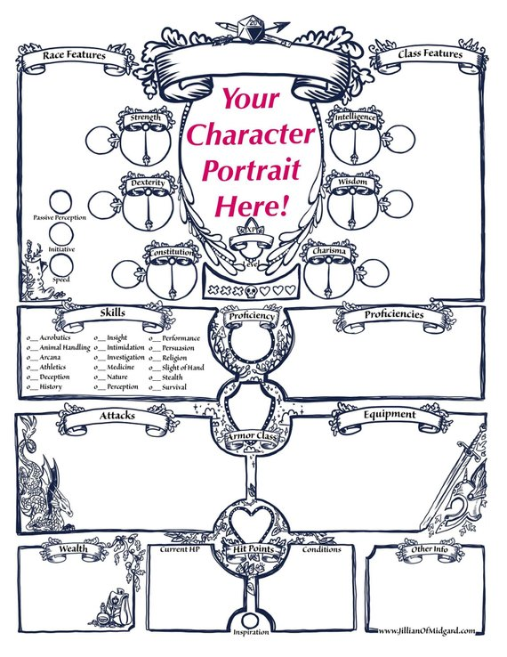 D&d character journal clipart jpg free Artful D&D and RPG custom character sheets from Jillian of Midgard ... jpg free