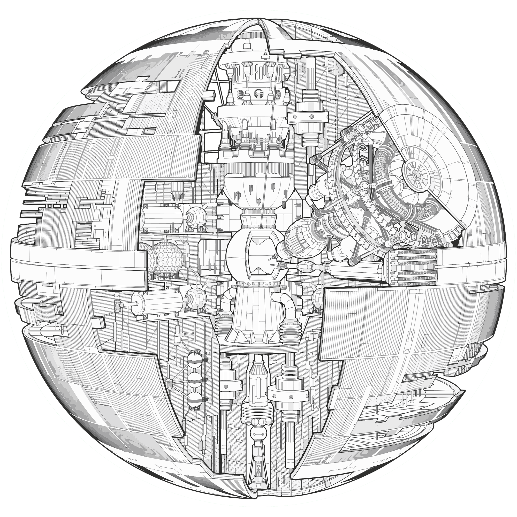 Death star clipart black and white svg royalty free download Death Star Drawing at GetDrawings.com | Free for personal use Death ... svg royalty free download