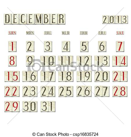 December 2013 calendar clipart image black and white stock Clip Art of December 2013 - Calendar - December 2013 calendar on ... image black and white stock