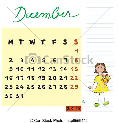 December 2013 calendar clipart image black and white library Clip Art December 2013 Clipart image black and white library