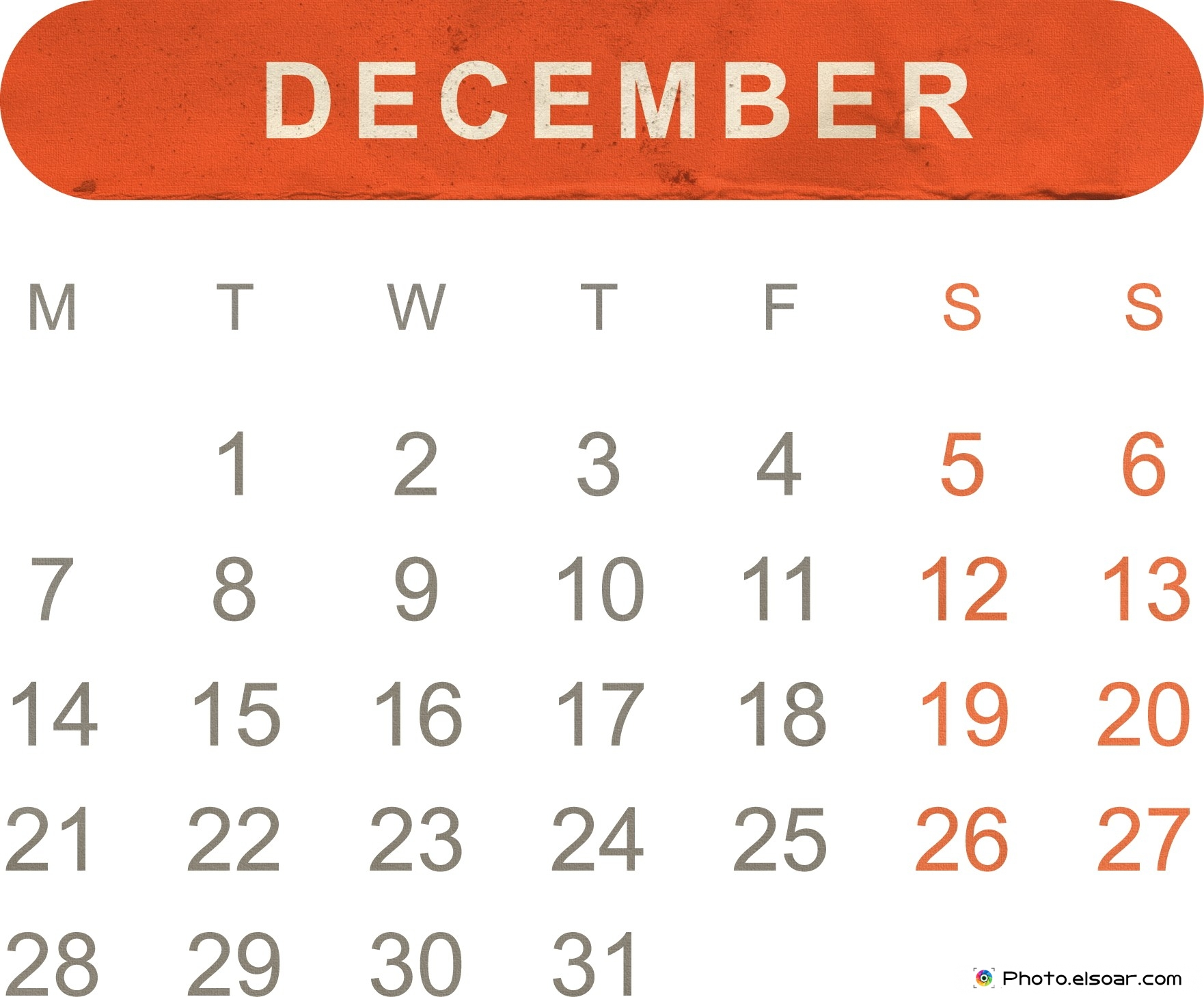 December 2015 calendar clipart picture free Free Printable Monthly Calendar 2015 – JPEG Templates • Elsoar picture free