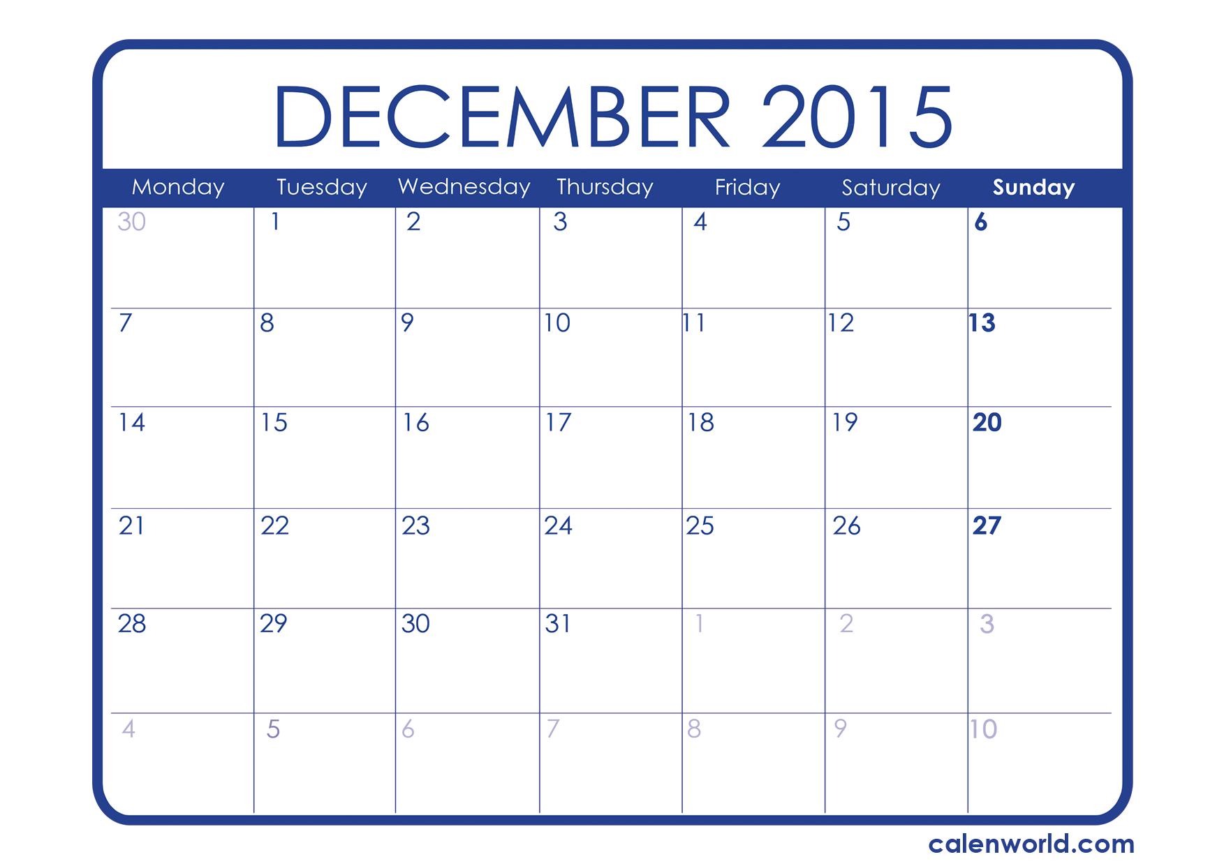 December 2015 calendar clipart image transparent download December 2015 Calendar Printable Calendars - Clipart Kid image transparent download