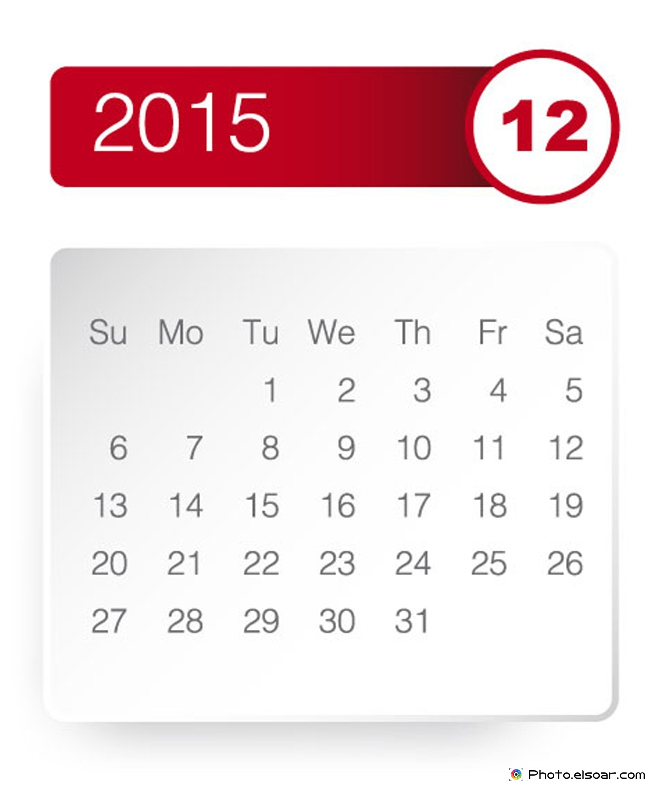 December 2015 calendar clipart jpg transparent library Free Printable 2015 Monthly Calendar • Elsoar jpg transparent library