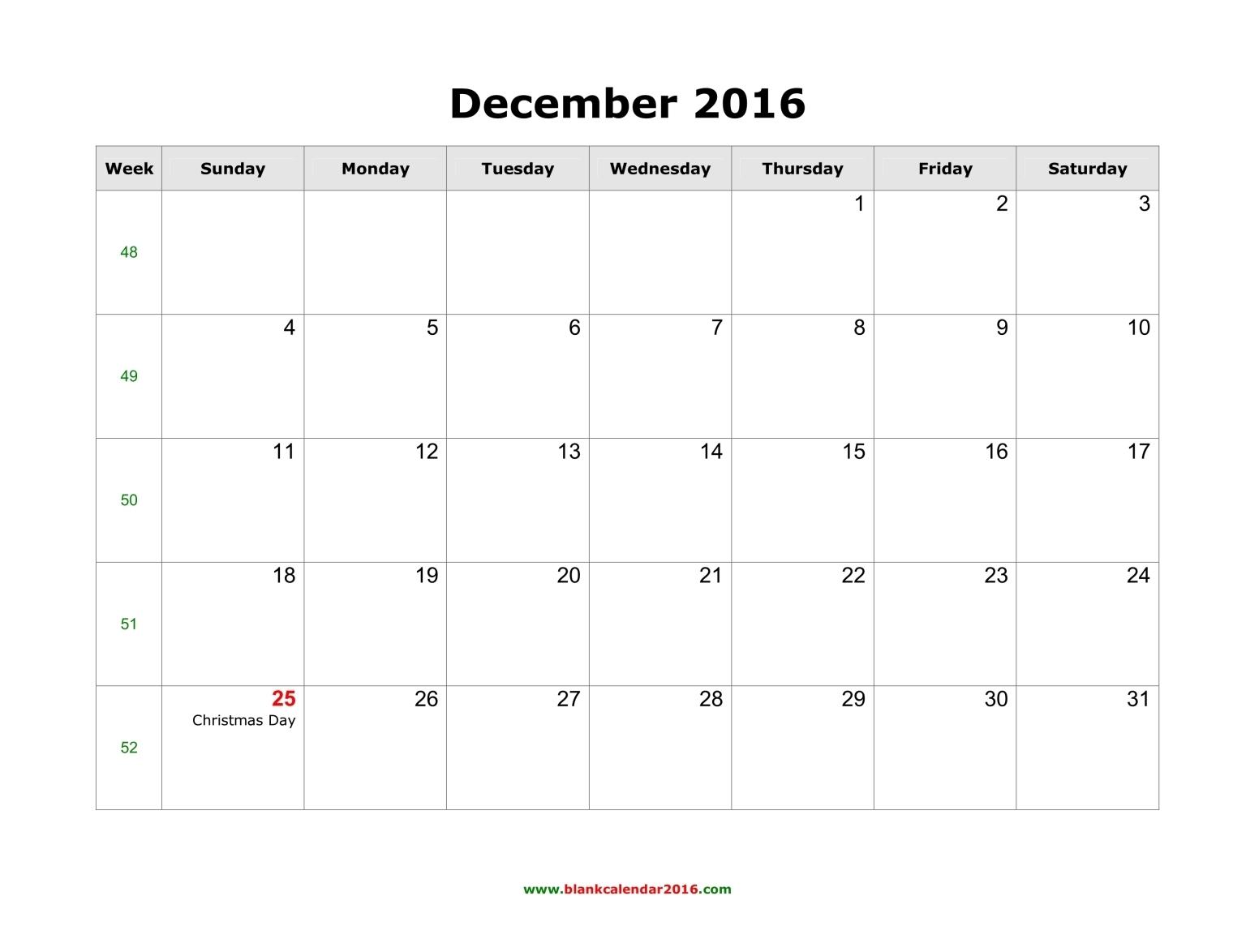 December calendar 2016 image library Blank Calendar for December 2016 image library