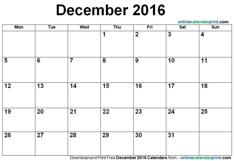 December calendar 2016 image black and white December Calendar 2016 Template image black and white