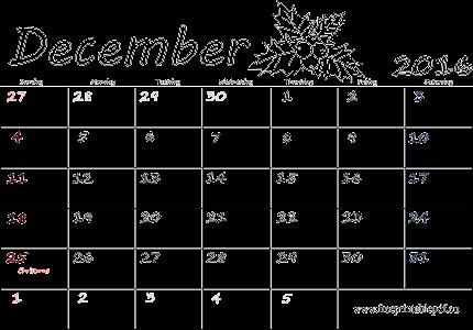 December calendar 2016 clipart black and white stock December 2016 calendar blank printable   Free Printable PDF clipart black and white stock