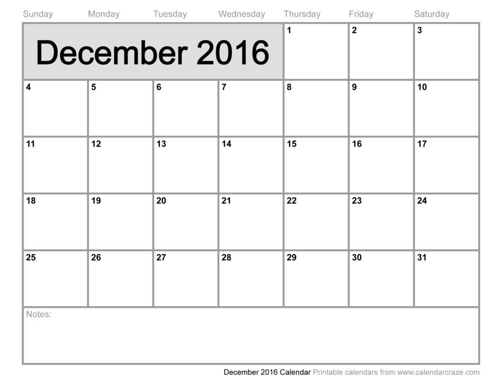 December calendar 2016 clip black and white library December 2016 Printable Calendar Templates   Free Printable Calendar clip black and white library