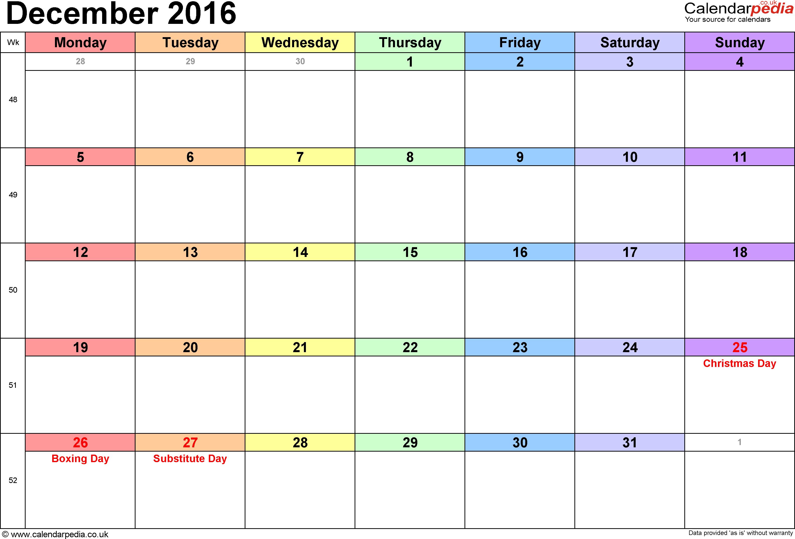 December calendar 2016 png transparent download Calendar December 2016 UK, Bank Holidays, Excel/PDF/Word Templates png transparent download