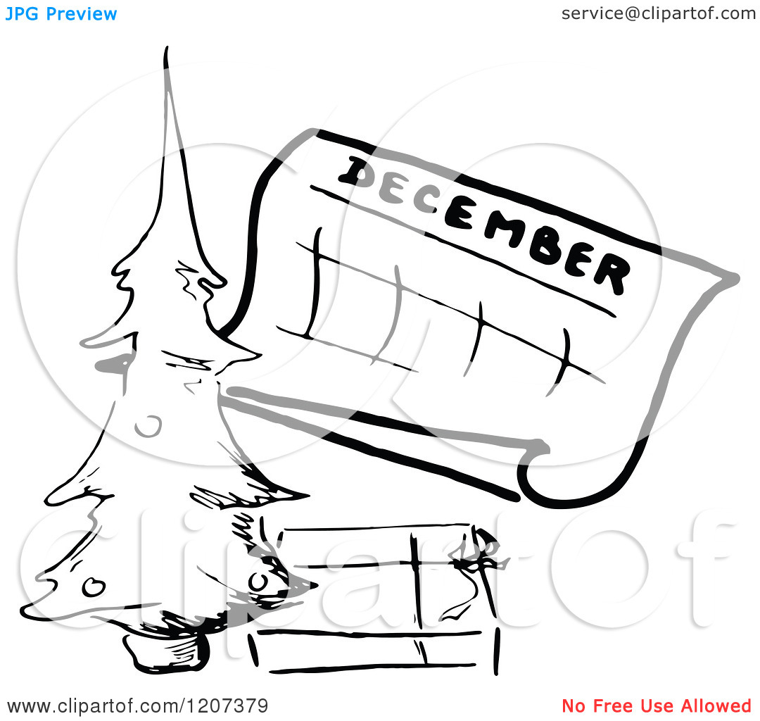 December calendar clip art. Clipart of a vintage