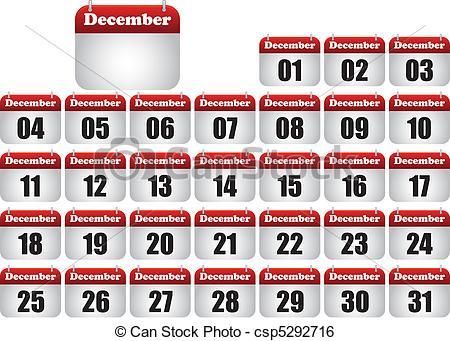 December calendar clipart png royalty free Clip Art Vector of december icons calendar - december calendar ... png royalty free