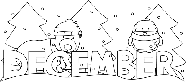 December clipart black and white black and white stock Black and White Month of December Winter Scene Clip Art ... black and white stock