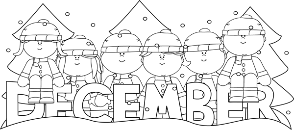 December clipart black and white picture clip art black and white | Black and White December Winter ... picture