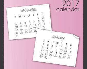 December january calendar 2017 clipart svg royalty free Calendar clip art | Etsy svg royalty free