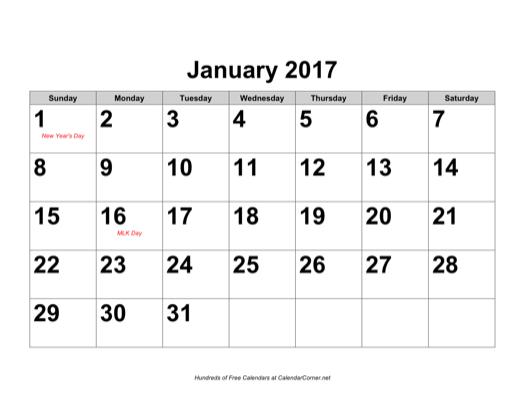 . December january calendar 2017 clipart