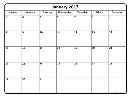 Free hd. December january calendar 2017 clipart