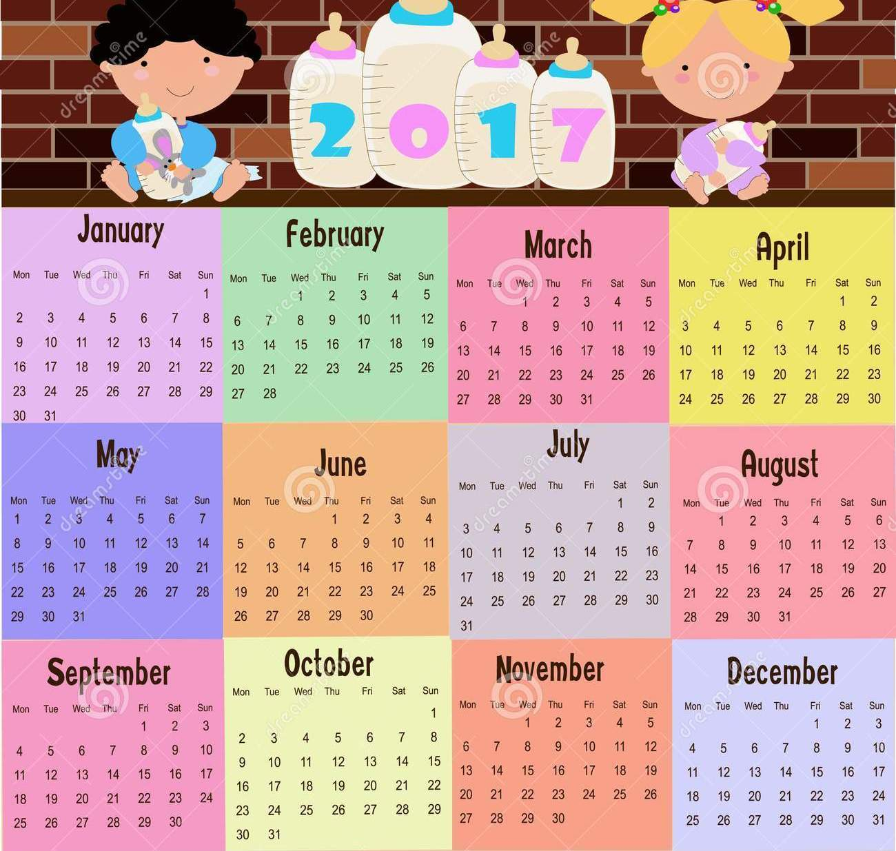 December january calendar 2017 clipart picture freeuse Kids Calendar 2017 – Free Monthly Calendar 2017 picture freeuse