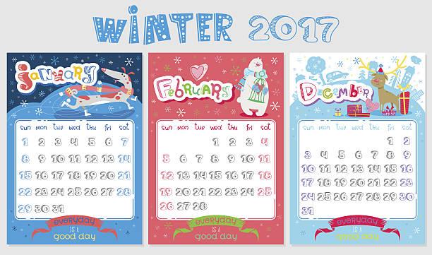 December january calendar 2017 clipart. Deer clip art vector
