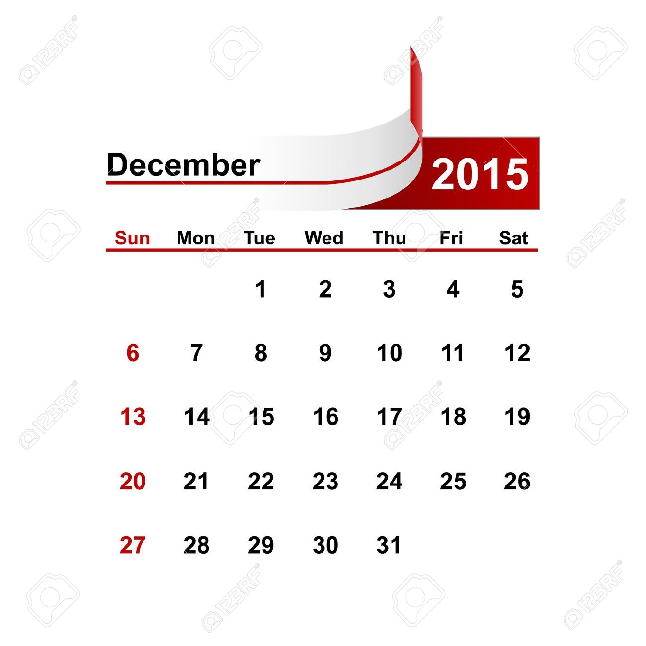 December simple calendar clipart black and white Vector Simple Calendar 2015 Year December Month. Royalty Free ... black and white