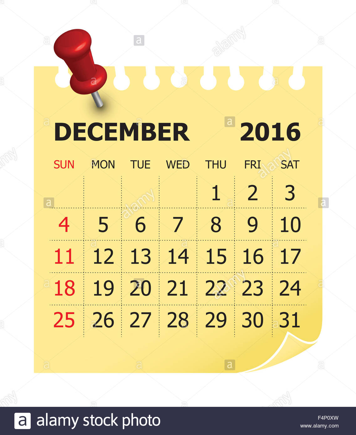 December simple calendar clipart png black and white download Simple Calendar For December 2016 Stock Photo, Royalty Free Image ... png black and white download