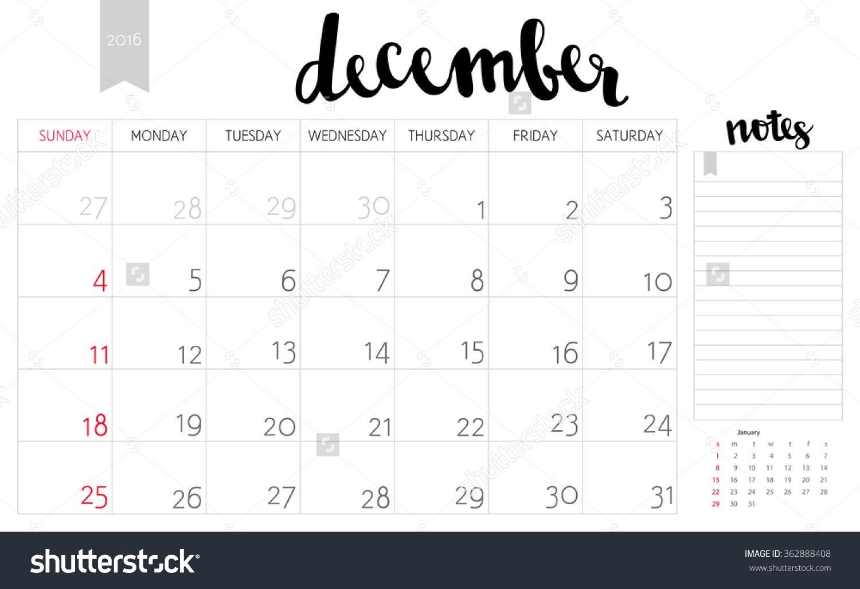 December simple calendar clipart image download Vector Simple Planning Calendar December 2016 Stock Vector ... image download
