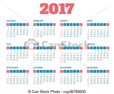 December simple calendar clipart image freeuse Vectors of Simple calendar 2017 template - Simple 2017 year ... image freeuse