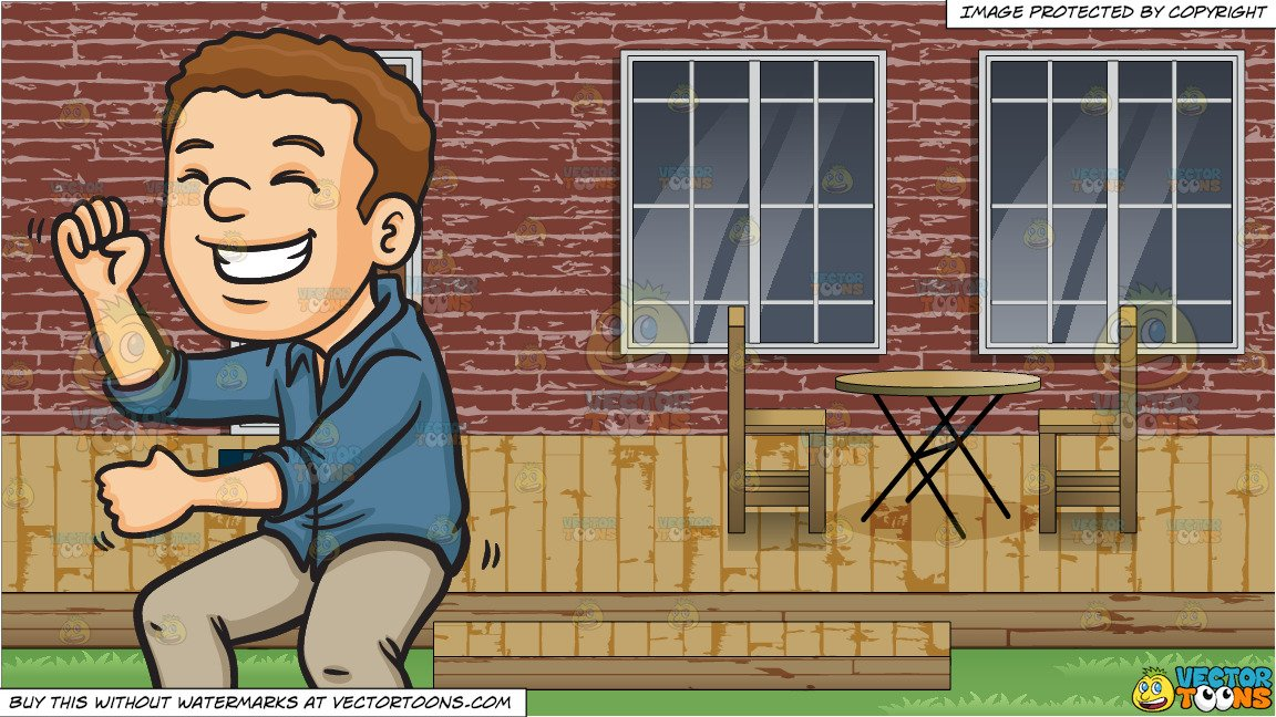 Deck party clipart picture black and white library A Man Dancing At A Party and A Backyard Deck Background picture black and white library
