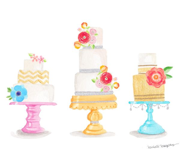 Decorated cake clipart svg download Watercolor decorative cakes ... cool idea with a little writing ... svg download