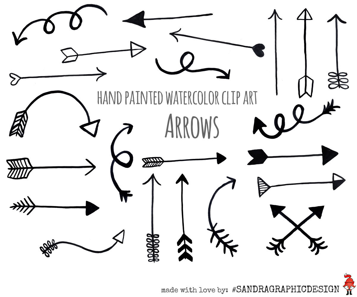 Decorative arrow clip art. Black arrows hand painted